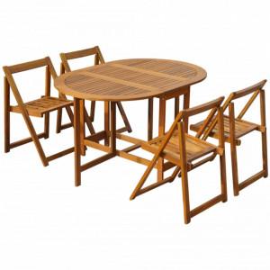 Set mobilier de exterior pliabil, 5 piese, lemn masiv de acacia - V45594V