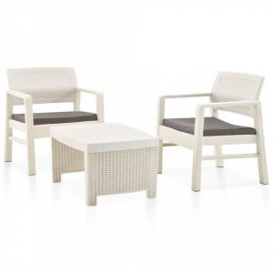Set mobilier de gradina, 3 piese, alb, plastic - V48823V