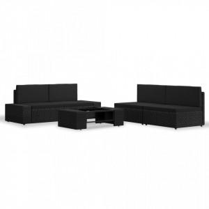 Set mobilier de gradina, 5 piese, negru, poliratan - V3054582V