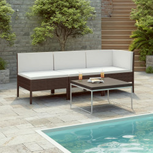 Set mobilier de gradina cu perne, 3 piese, maro, poliratan - V310201V