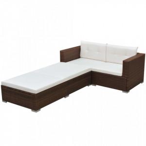 Set mobilier de gradina cu perne, 3 piese, maro, poliratan - V42747V