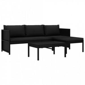 Set mobilier de gradina cu perne, 3 piese, negru, poliratan - V47400V