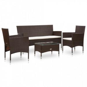 Set mobilier de gradina cu perne, 4 piese, maro, poliratan - V45888V