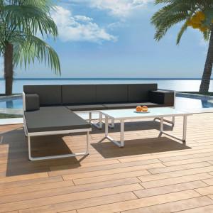 Set mobilier de gradina cu perne, 4 piese, negru, aluminiu - V42815V