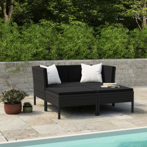 Set mobilier de gradina cu perne, 4 piese, negru, poliratan - V3056967V