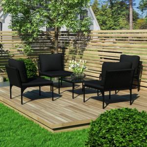 Set mobilier de gradina cu perne, 5 piese, negru, PVC - V48590V