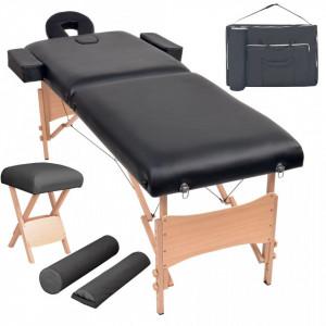 Set taburet si masa masaj pliabila 2 zone, 10 cm grosime, negru - V110155V