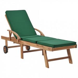 Sezlong cu perna, verde, lemn masiv de tec - V48024V