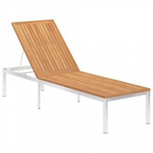 Sezlong, lemn masiv de tec si otel inoxidabil - V46513V