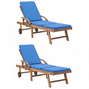 Sezlonguri cu perne, 2 buc., albastru, lemn masiv de tec - V3054636V