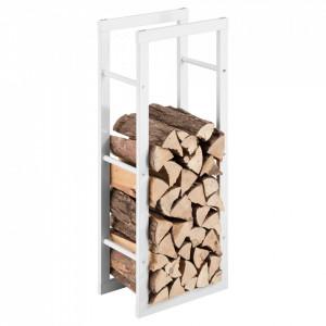 Suport lemne foc Kasan 2, 40 x 100 x 25 cm, otel, alb - P71406186