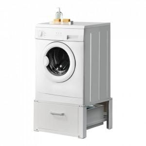 Suport pentru masina de spalat standard AAWR-8002, 63 x 54 x 31 cm, otel/aluminiu, 150 kg, alb, cu sertar depozitare - P65374782