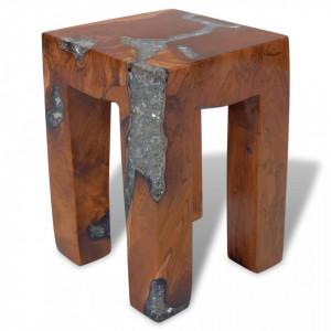 Taburet, lemn de tec masiv si rasina - V243470V