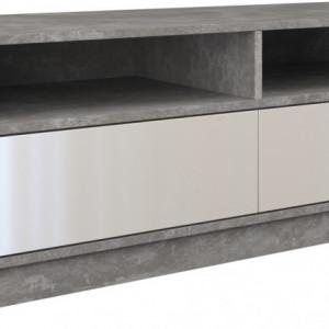 TECOTVG-A101 - Comoda TV 120 x 40 x 45 cm, Gri-Alb-Lucios