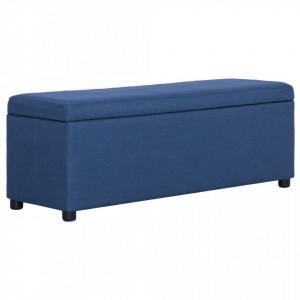 Banca cu compartiment de depozitare albastru, 116 cm, poliester - V281321V