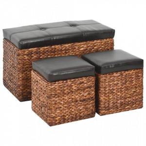Bancheta cu 2 taburete, iarba de mare, maro si negru - V246106V