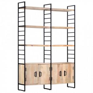 Biblioteca cu 4 rafturi, 124 x 30 x 180 cm, lemn masiv de mango - V284417V