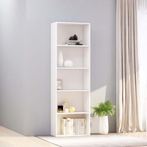 Biblioteca cu 5 rafturi, alb, 60 x 30 x 189 cm, PAL - V800990V