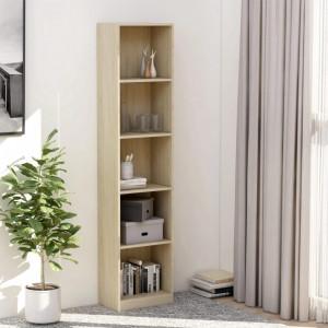 Biblioteca cu 5 rafturi, stejar Sonoma, 40 x 24 x 175 cm, PAL - V800849V