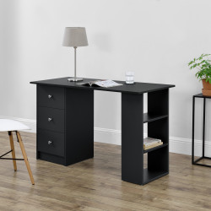 Birou Tonia Grey, 120 x 49 x 72 cm, PAL, negru, cu 3 sertare si 3 polite - P67977819