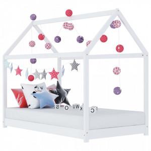 Cadru pat de copii, alb, 70 x 140 cm, lemn masiv de pin - V283349V