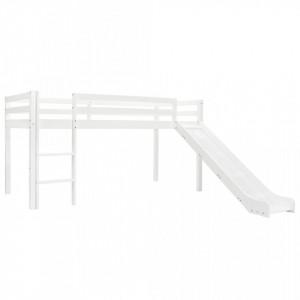 Cadru pat etajat copii cu tobogan & scara 97x208cm lemn de pin - V282713V