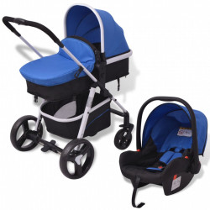 Carucior pentru copii 3-in-1, albastru si negru, aluminiu - V10115V