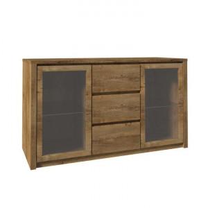Comodă cu două uşi din sticlă şi trei sertare, stejar lefkas închis, MONTANA K2D