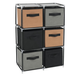 Comodă cu sertare din material textil, negru/maro/gri, CAMILO TYP 2