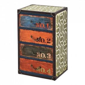 Comoda Goslar, 66 x 40 x 30 cm, MDF/imitatie piele, multicolor, cu 4 sertare - P71650545
