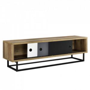Comoda TV cu usi glisante - 140cm x 35cm x 41cm - alb - gri - negru - P56251272