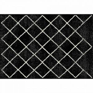 Covor, negru/model, 67x120 cm, MATES TYP 1