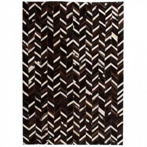Covor piele naturala, mozaic, 160x230 cm zig-zag Negru/Alb - V132608V