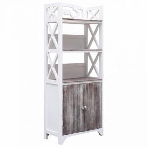 Dulap de baie, alb si maro, 46 x 24 x 116 cm, lemn de paulownia - V284108V
