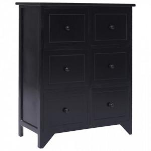 Dulap lateral cu 6 sertare, negru, 60x30x75 cm, lemn paulownia - V284098V