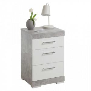 FMD Noptiera cu 3 sertare, gri beton si alb lucios - V428707V