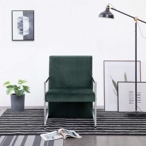 Fotoliu cu picioare cromate, verde inchis, catifea - V282158V