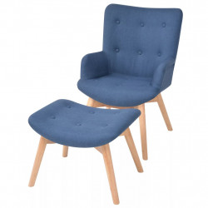 Fotoliu cu taburet, albastru, material textil - V244663V