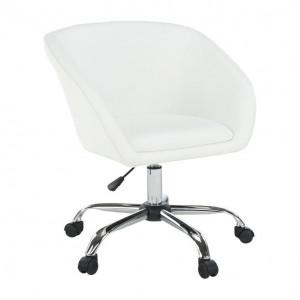 Fotoliu de birou, piele ecologică albă/metal, LENER