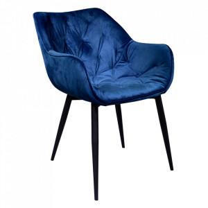 Fotoliu de design, material textil Velvet albastru, FEDRIS