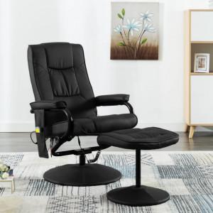 Fotoliu de masaj cu taburet, negru, piele ecologica - V249302V
