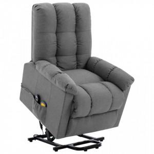 Fotoliu de masaj rabatabil vertical gri deschis material textil - V321390V