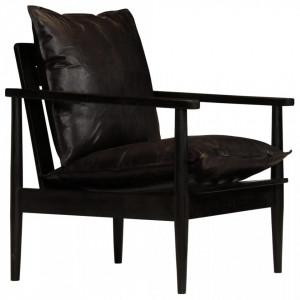 Fotoliu, negru, piele naturala & lemn de acacia - V246481V