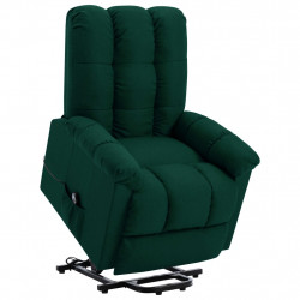 Fotoliu rabatabil cu ridicare verticala, verde inchis, textil - V321386V