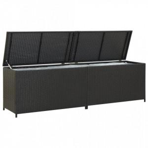 Lada de depozitare de gradina, negru, 200x50x60 cm, poliratan - V46474V