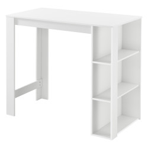 Masa bar Danderyd W, 120 x 60 x 105,5 cm, PAL melaminat, alb, cu trei rafturi - P73294017