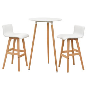 Masa bar rotunda - design retro - cu 2 scaune - alb - P53829610