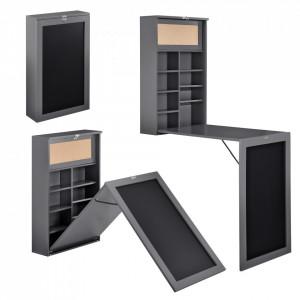 Masa birou Flavia,156 x 50 x 91,5 cm, MDF, gri inchis, rabatabila, cu tabla integrata pentru scris si compartimente depozitare, economie spatiu - P65373529
