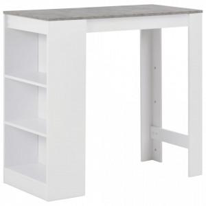 Masa de bar cu raft, alb, 110 x 50 x 103 cm - V280214V