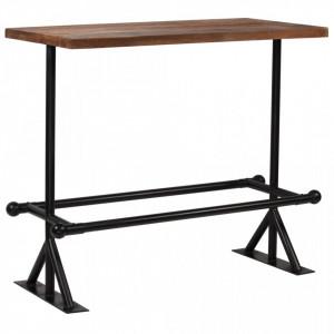 Masa de bar, lemn masiv reciclat, maro inchis, 120x60x107 cm - V245383V